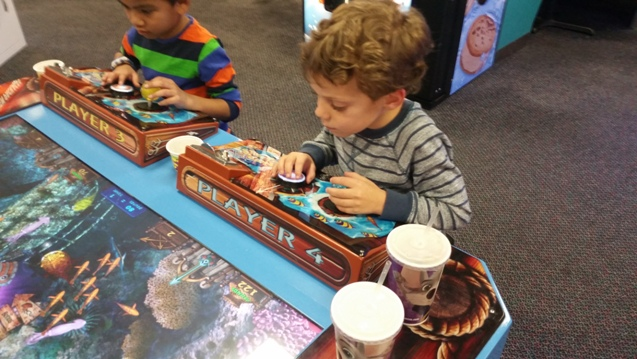 Micah Playing the Awesome Fish Game at Chuck E Cheese