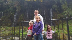 The falls included about ten or so smaller waterfalls like the ones behind the family.
