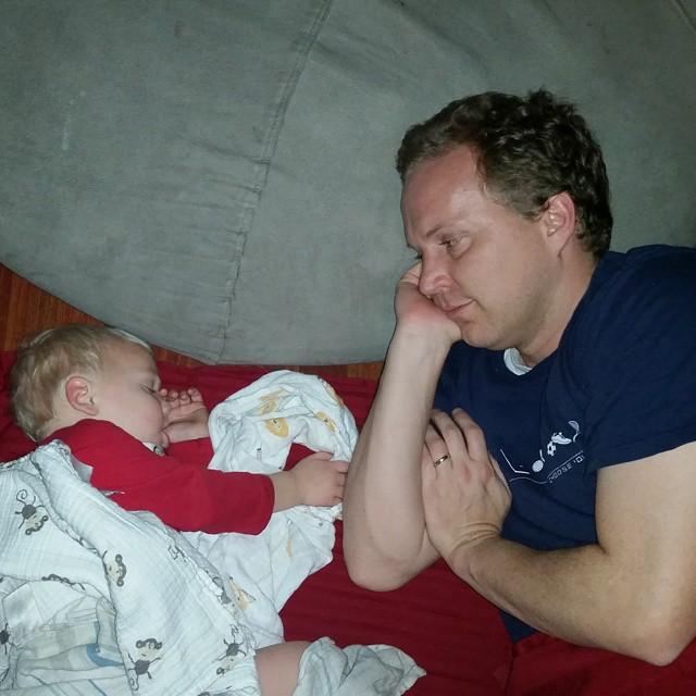 Sick Dad Snuggling Sleeping Baby